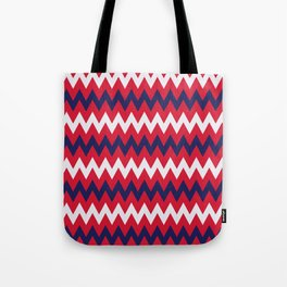 """Broken Heart artistic Pillow - """"Red and Blue Zig-zag Stripes"""" Tote Bag"""