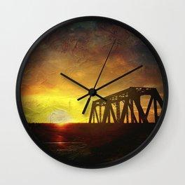 Bridge at Sunset Wall Clock