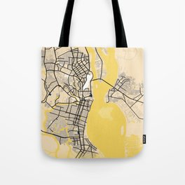 Guayaquil Yellow City Map Tote Bag