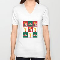 mexico V-neck T-shirts featuring Mexico City by Arts and Herbs