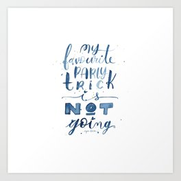 Party Trick Watercolor Lettering Introvert Quote Art Print