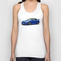 subaru Tank Tops featuring Subaru Impreza 22B STI Type UK Sonic Blue by Digital Car Art