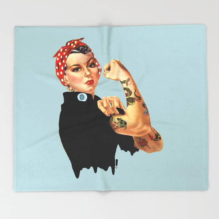 Tattooed Rosie the Riveter Throw Blanket