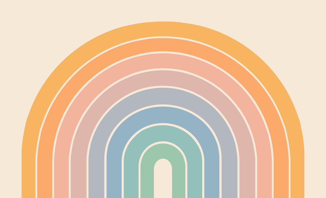 retro illustration of rainbow gradient