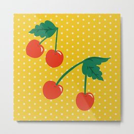 Cherry Kitsch on Yellow Metal Print