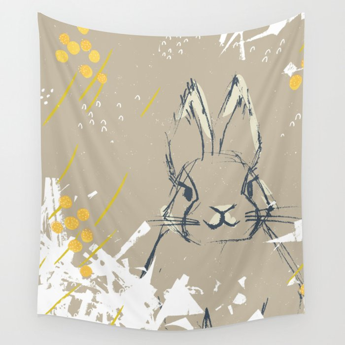 Bunny Portrait M+M Latte by Friztin Wall Tapestry