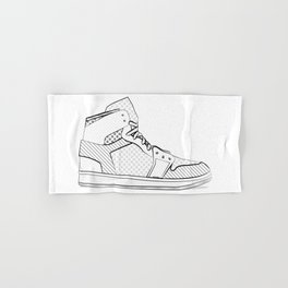 sneaker illustration pop art drawing - black and white graphic Hand & Bath Towel