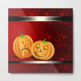 Pumpkins and spooky witches Metal Print