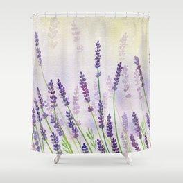 Lavender Flowers Watercolor Shower Curtain