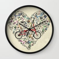 brompton Wall Clocks featuring I Love Brompton Bikes by Wyatt Design