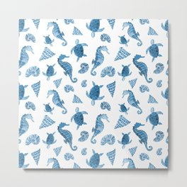 Sea Creatures | Light Blue Ocean Animals Metal Print