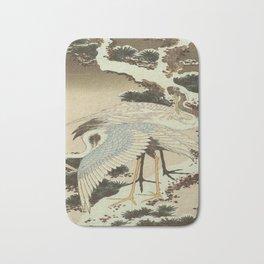 hokusai – two crane on a pine -bird,beak,plum,nature Bath Mat