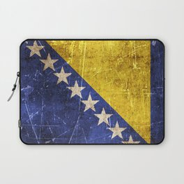 Vintage Aged and Scratched Bosnian Flag Laptop Sleeve