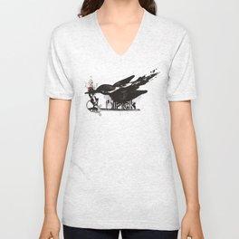 art word black dripping bird knights arm sword Unisex V-Neck