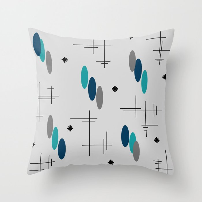 Ovals and Starbursts Teal Throw Pillow