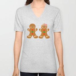 Gingerbread Couple Boy Girl Unisex V-Neck