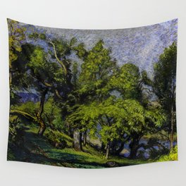 Chestnut Trees above a River Wall Tapestry