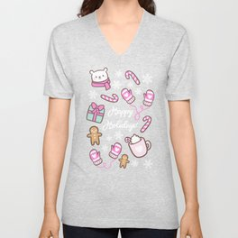 Cute Christmas // Pink Unisex V-Neck