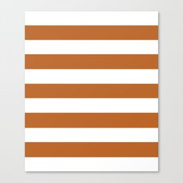 Ruddy brown - solid color - white stripes pattern Canvas Print