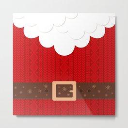 Santa Knitted Sweater (Red) Metal Print