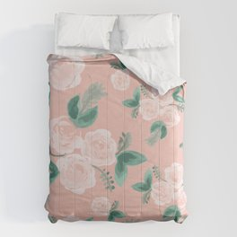 Watercolor Roses in Soft Pink Comforters