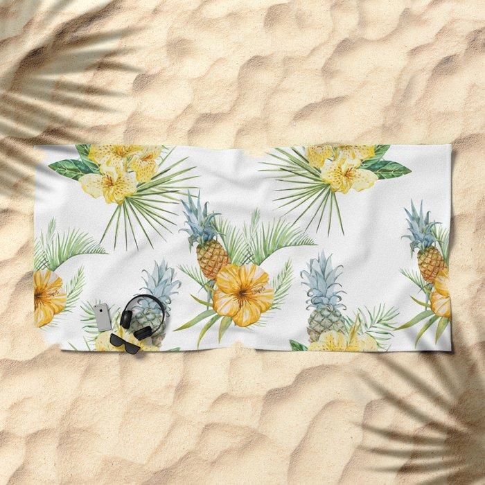 Pineapple Pattern 01 Beach Towel