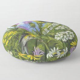Goldfinches and Thistle Floor Pillow