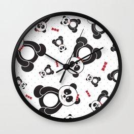 Panda Freefall (Black, White, Red) Wall Clock