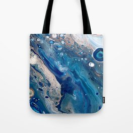 Blue Marbled Fluid Painting Unique Swirls Water Tote Bag