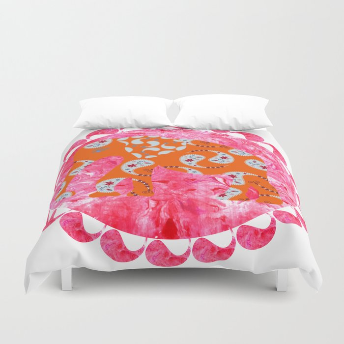 Elephant In Pink Marble Watercolor Background Duvet Cover
