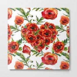 Poppy Heart pattern Metal Print