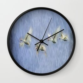 Migrating Swans Art Wall Clock