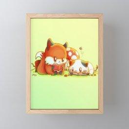Bookish Fox and Cat Friends Framed Mini Art Print