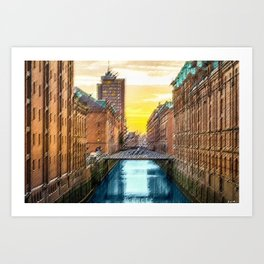 Brick Industrial Homes on the Canal, Hamburg Germany Landscape Painting by Jeanpaul Ferro Art Print
