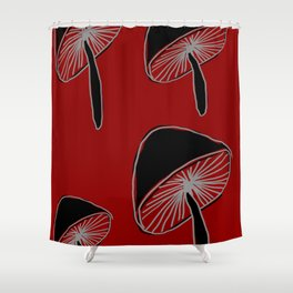 Whimsical Mushrooms #Pattern #Nature #DigitalArt Shower Curtain