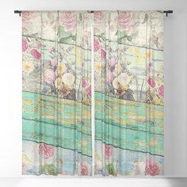 Villa Rosa Shabby Roses and Wood Sheer Curtain