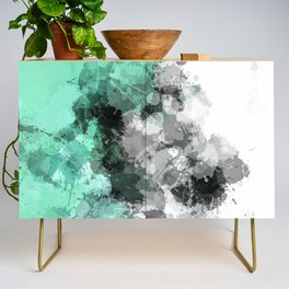 Mint Green Paint Splatter Abstract Credenza