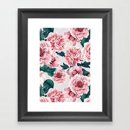 Pattern pink vintage peonies Framed Art Print