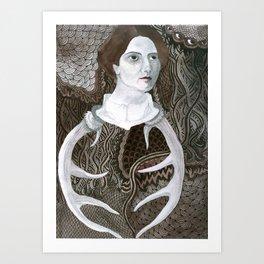 Antler Lady Art Print