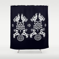 blueprint Shower Curtains featuring Blueprint deers, birds and Tree od life by slovensky