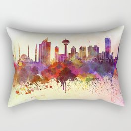 Ankara skyline in watercolor background Rectangular Pillow