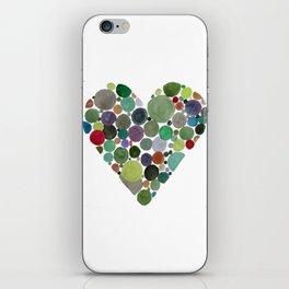 Green dots heart iPhone Skin