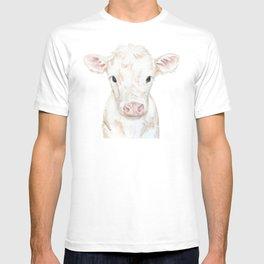 Baby White Cow Calf Watercolor Farm Animal T-shirt