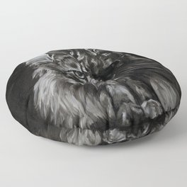 Who's for Dinner? Big Black & White Main Coon Cat Floor Pillow