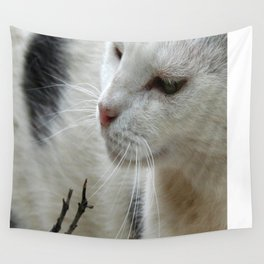 Close Up Of A Piebald Cat Wall Tapestry