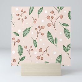 Berry and Leaves Pattern Mini Art Print