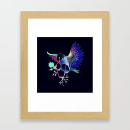 Flying with roses inverse Framed Art Print