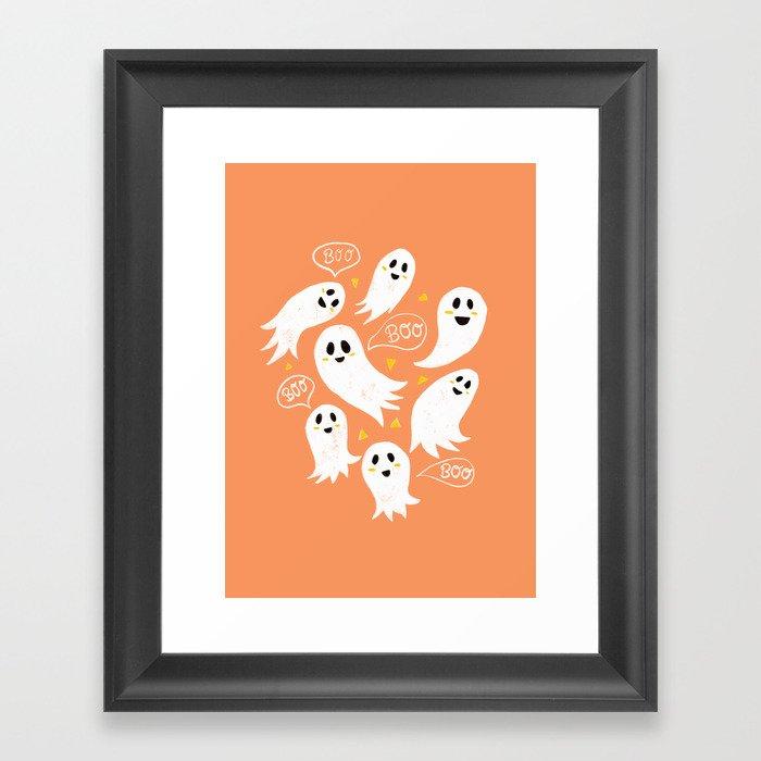 Friendly Ghosts on Orange Gerahmter Kunstdruck