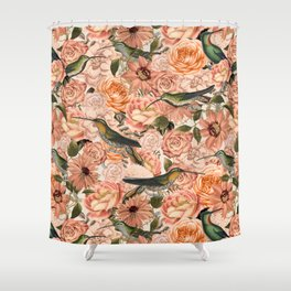 Nostalgic Flower And Hummingbird Pattern Shower Curtain