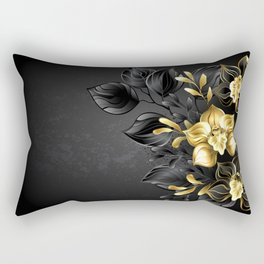 Black Background with Black Orchid Rectangular Pillow